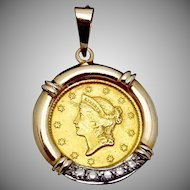 Antique 1851 Liberty Head Dollar Pendant in 14K Gold Bezel Diamonds