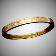 Antique Gold Filled Victorian Baby Doll Child Bangle Bracelet HF Barrows