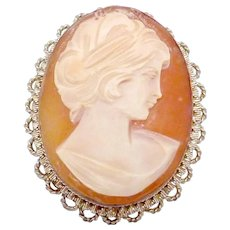 Vintage 800 Silver Italy Italian Carved Shell Cameo Pin Pendant