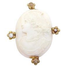 Antique Victorian 10K Gold White Shell Seed Pearl Carved Cameo Pin