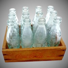 Vintage 1930s 12 Miniature Coke Coca Cola Bottles in Wooden Case