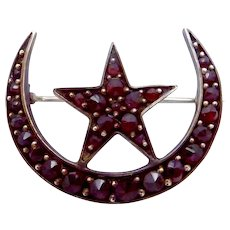 Antique Victorian 9K Gold Bohemian Garnet Moon Star Pin Brooch