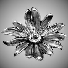 Antique Victorian Kerr Sterling Silver Daisy Flower Pin