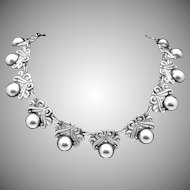 Vintage Taxco Mexico Mexican Sterling Silver Classic Necklace
