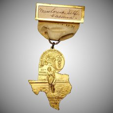 Antique 1916 State Medical Assoc of Texas Galveston Session Badge Bathing Beauty