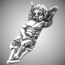 Antique Mechanics Sterling Silver Naked Cherub Angel Souvenir Spoon