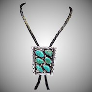 Vintage Tommy Moore Navajo Sterling Silver Turquoise Leather Bolo Tie