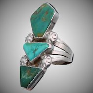 Vintage Navajo Southwest Sterling Silver 1940s Triple Turquoise Ring