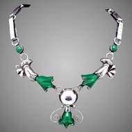 Vintage Quinto Taxco Mexican Sterling Silver Green Onyx Flower Necklace