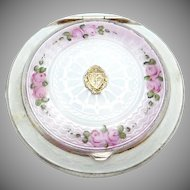 1920s Finberg White Gold Filled Pink Roses Enamel Compact Delta Tau Delta