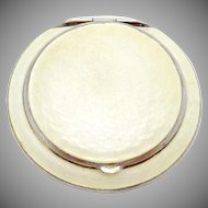 Vintage 1920s Finberg White Gold Filled Yellow Guilloche Enamel Compact