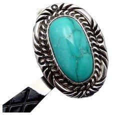 Vintage Sam Graves Tribal Southwest Sterling Silver Turquoise Earrings