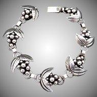 Vintage S Christian Fogh Danish Denmark Sterling Silver Grape Bracelet