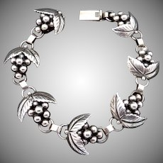 Vintage S Christian Fogh Danish Denmark Sterling Silver Grape Bracelet
