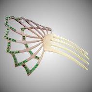 Victorian Celluloid Faux Tortoise Green Rhinestones Hair Comb Ornament