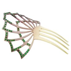 Victorian Celluloid Faux Tortoise Green Rhinestones Hair Comb Ornament
