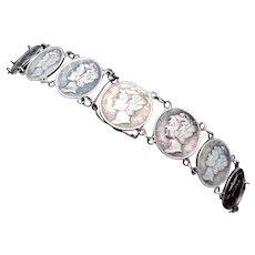 Vintage 1942 1943 Silver Mercury Dime Bracelet