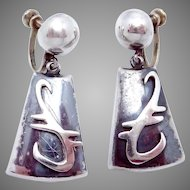 Vintage Ledesma Taxco Modernist Mexican Sterling Silver Dangle Earrings