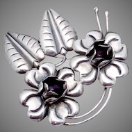 Vintage Taxco Mexico Mexican Sterling Silver Amethyst Flower Pin Large!