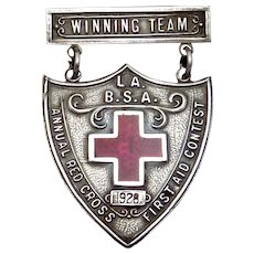 Meyers Sterling Silver Boy Scout BSA L.A. First Aid Contest Winning Medal