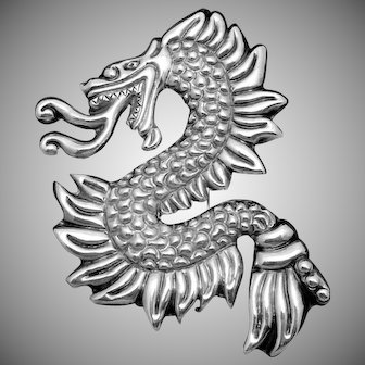 Vintage Taxco Mexican Sterling Silver Early Large Dragon Quetzalcoatl Pin