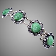Vintage Barrera Taxco Mexico Mexican Sterling Silver Green Mask Bracelet
