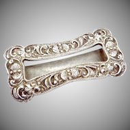 Antique Victorian 800 Silver Large Sash Buckle Hand Wrought Floral Chasing