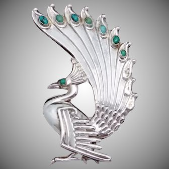 Vintage Taxco Mexican Sterling Silver Turquoise Early Large Peacock Pin