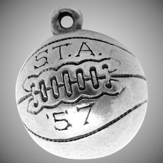 Vintage 1957 St Thomas Academy Sterling Silver Basketball Charm Pendant MN