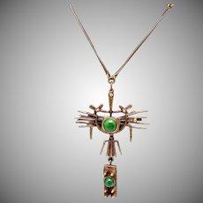 Vintage Hand Wrought Bronze Jozsef Peri Brutalist Modernist Necklace