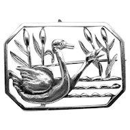Vintage Christian Veilskov Danish Denmark 830 Silver Swan Geese Bird Pin