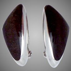 Vintage Ledesma Taxco Modernist Mexican Sterling Silver Obsidian Earrings