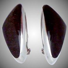 Vintage Ledesma Taxco Modernist Mexican Sterling Silver Obsidian Earrings