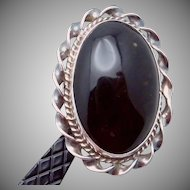 Vintage Taxco Mexico Mexican Sterling Silver Obsidian Large Showy Ring