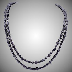 Antique Victorian England Whitby Jet Carved Small Bead Long Necklace 24303