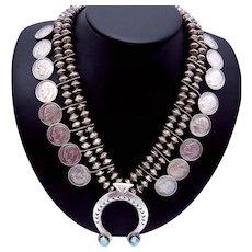 Vintage Navajo Southwest Sterling Silver Turquoise Squash 1964 Dime Necklace