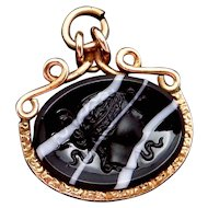 Antique Victorian 9K Gold Black White Glass Cameo Watch Fob Pendant