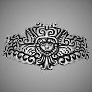 Vintage Taxco Mexican Sterling Silver Los Ballesteros Huge Ornate Buckle