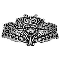 Vintage Taxco Mexican Sterling Silver Los Ballesteros Huge Ornate Buckle