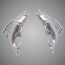 Vintage Taxco Mexican Sterling Silver Juan Sandoval Pierced Fish Earrings