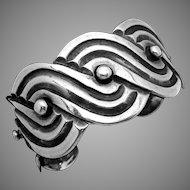 Vintage Los Castillo Taxco Mexico Mexican Sterling Silver Cuff Bracelet