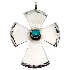 Vintage Navajo Zuni Southwest Sterling Silver Turquoise Cross Pendant Signed