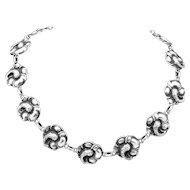 Vintage Viking Craft Sterling Silver Hibiscus Flower Necklace