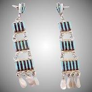 Vintage Zuni Sterling Silver Turquoise Petit Point Long Pierced Earrings