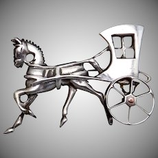 Vintage 1930s Taxco Mexican Sterling Silver Horse Carriage Pin Moveable Wheel