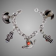 Vintage Italian Italy 800 Silver Coral Glass Multi Fob Charm Bracelet 24442