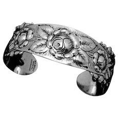 d9ca351bd Vintage Kulik Kulikraft Hand Wrought Sterling Silver Rose Cuff Bracelet