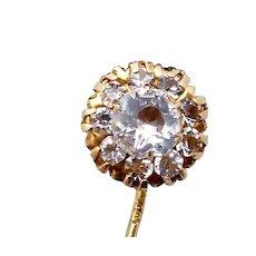 Vintage 14K Gold Crystal Fancy Stickpin Pin