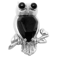 Vintage 1930s Taxco Mexican Sterling Silver Black Onyx Owl Bird Pin