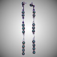 Vintage Zuni Sterling Silver Turquoise Snake Eye Long Pierced Earrings